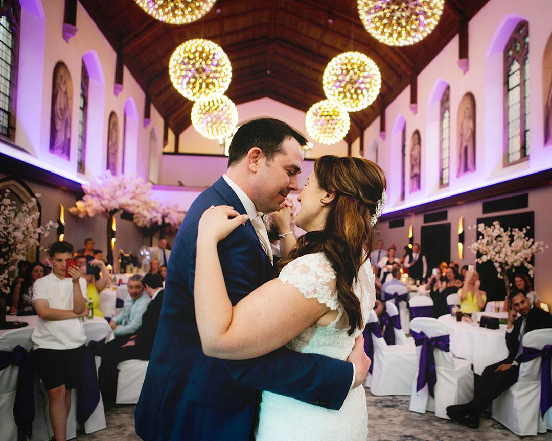 First dance at a Hanbury Manor wedding