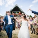 Colourful confetti photography at DIY summer wedding