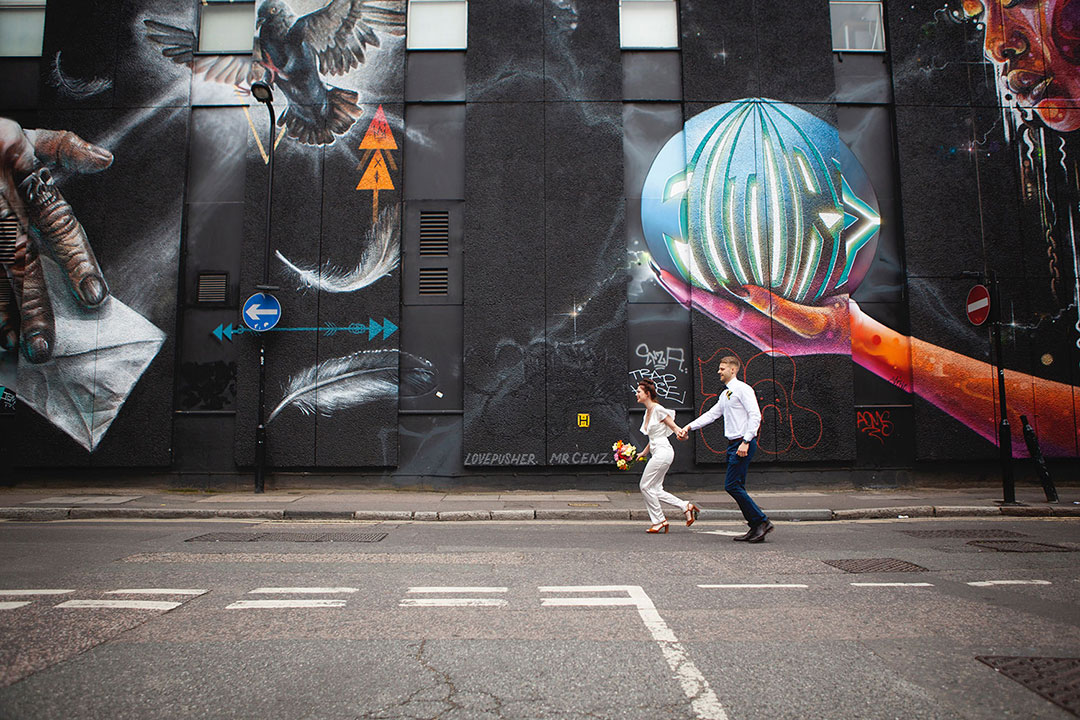 London Elopement Inspitation on the streets of Shoreditch